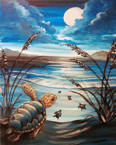 A Moon Over Turtle Bay paint nite project by Yaymaker