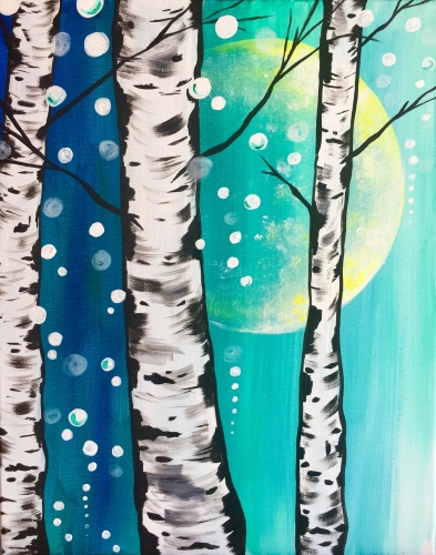 A Birches Be Twinklin In the Snow paint nite project by Yaymaker