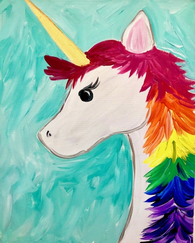 A Rainbow Unicorn Sparkle paint nite project by Yaymaker