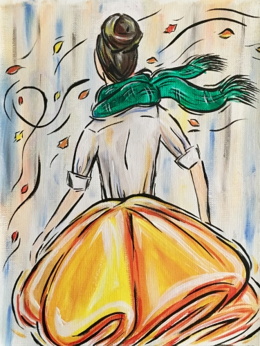 A Girl on a Windy Autumn Day paint nite project by Yaymaker