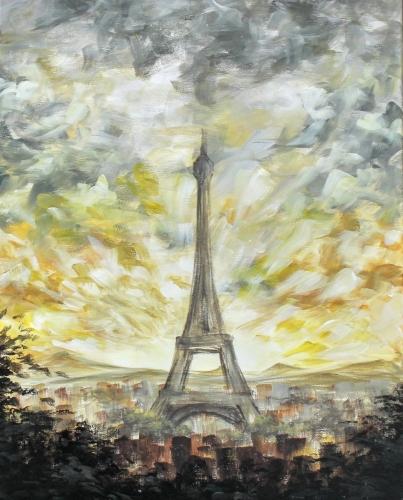 A Golden Paris Sunset paint nite project by Yaymaker