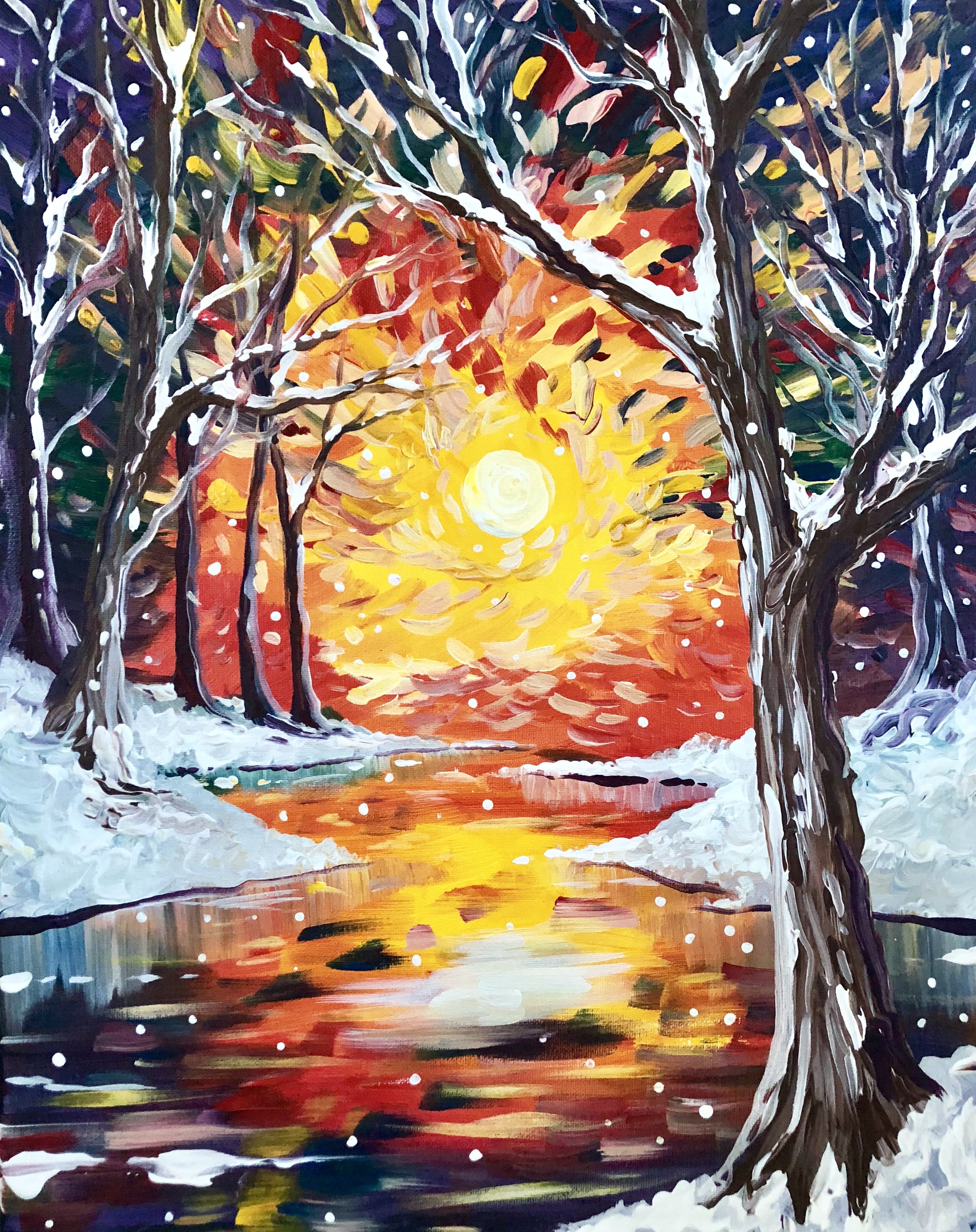 A Winter Glitter paint nite project by Yaymaker