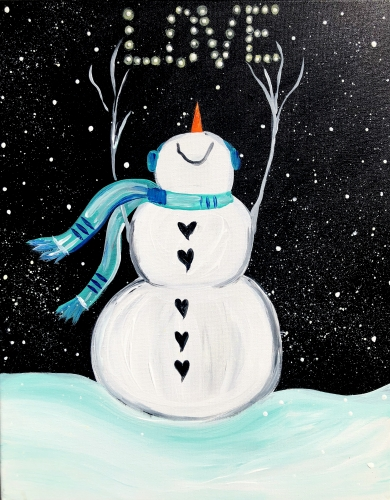 A Winter Snowman Love paint nite project by Yaymaker