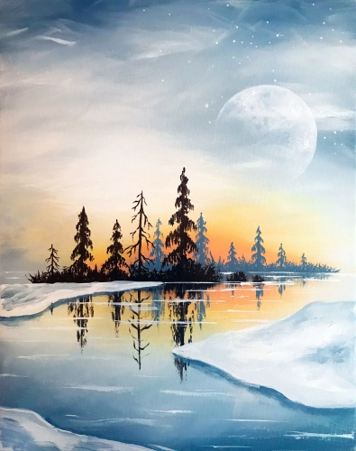 A Crisp Winter Lake paint nite project by Yaymaker