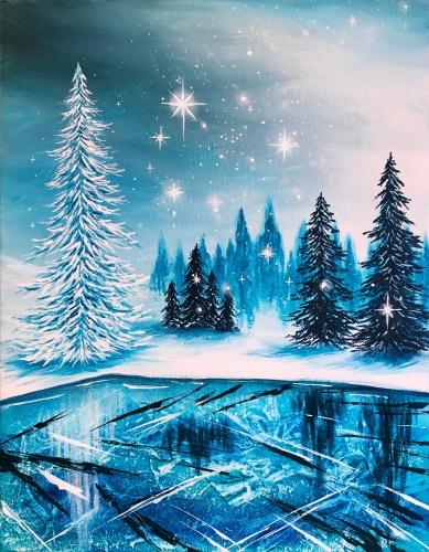 A Frozen Winter Lake II paint nite project by Yaymaker