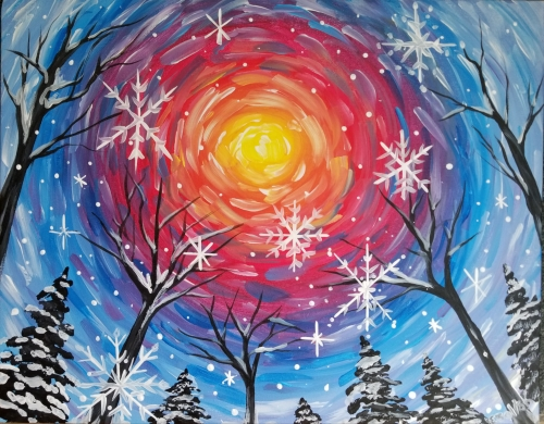 A Snowflake Sunset with Pines paint nite project by Yaymaker