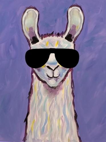 A Playful Llama Sunglasses paint nite project by Yaymaker