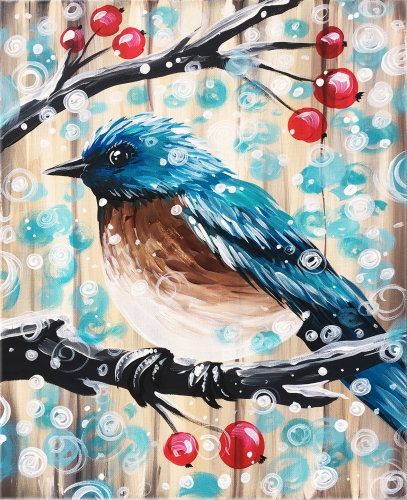 A Barn Board Snow Bird paint nite project by Yaymaker
