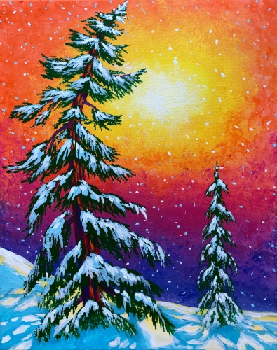 A Winter Whimsy paint nite project by Yaymaker
