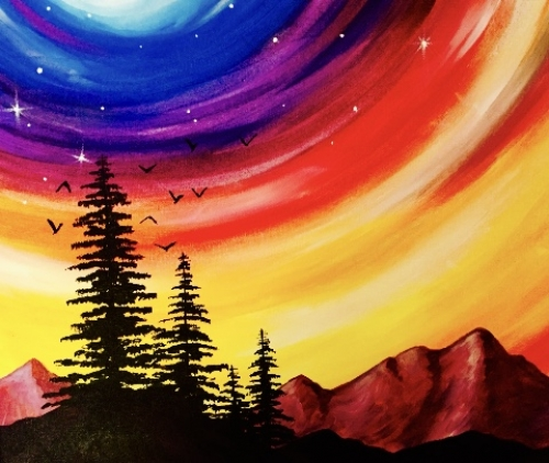 A Colorful Night Sky paint nite project by Yaymaker
