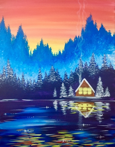 A Cozy Cabin at Getaway Lake paint nite project by Yaymaker