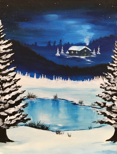 A Snowy Winter Cabin paint nite project by Yaymaker