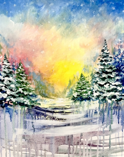 A Winter Sun Meltdown paint nite project by Yaymaker