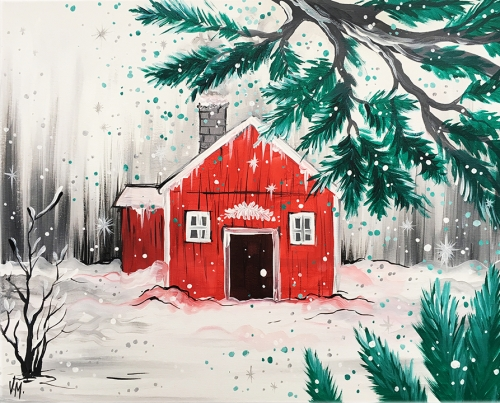 A Red House in Snow paint nite project by Yaymaker