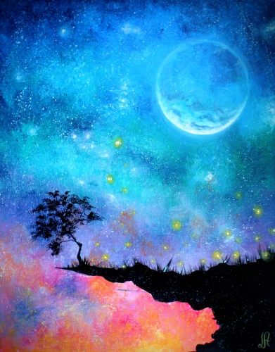 A Dreamy Moonlit Sunset paint nite project by Yaymaker