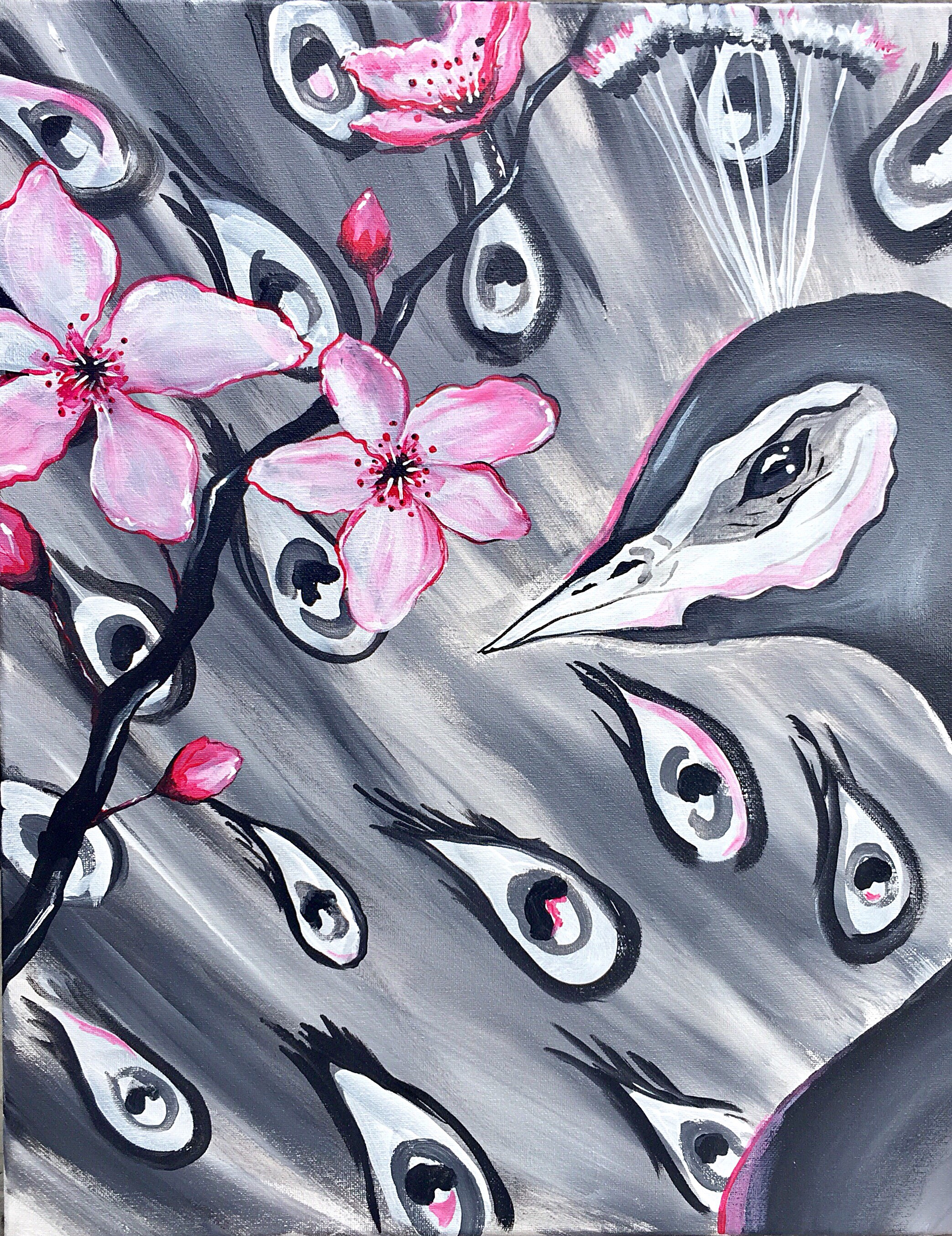 A Spring Pop of Pink Peacock paint nite project by Yaymaker