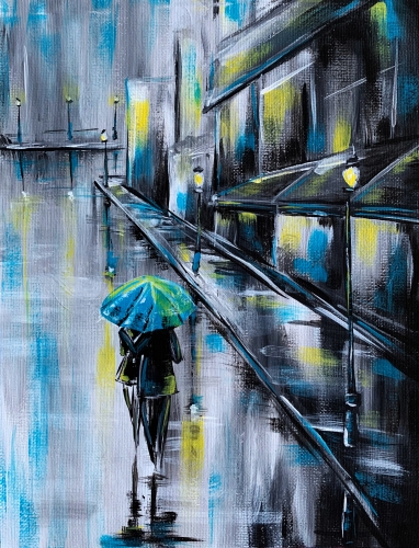 A Rainy City Stroll paint nite project by Yaymaker