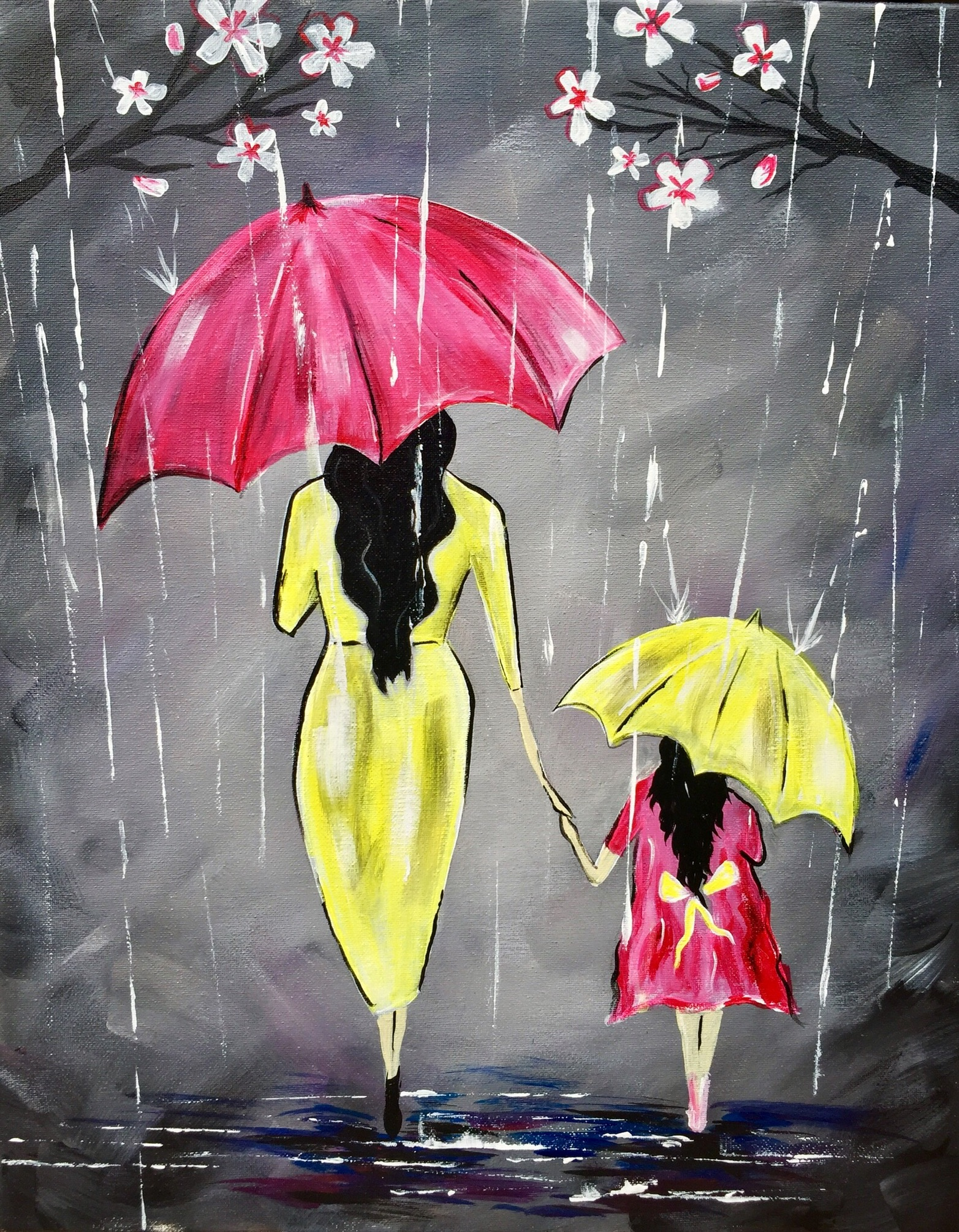 A Hold My Hand Through the Spring Rain Baby paint nite project by Yaymaker
