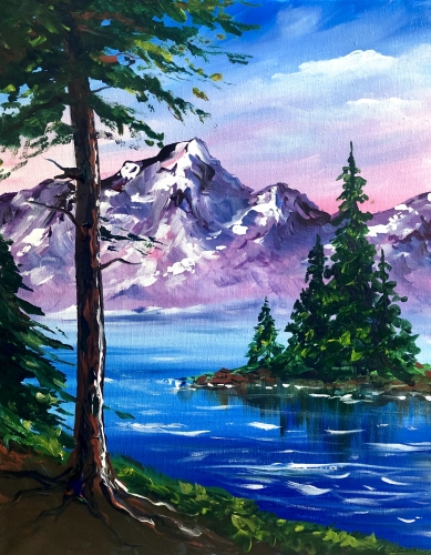 A Happy Mountains and Trees paint nite project by Yaymaker