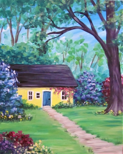 A Sunny Cottage in Bloom paint nite project by Yaymaker