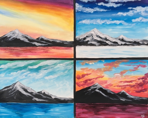A Mountain Seasons paint nite project by Yaymaker