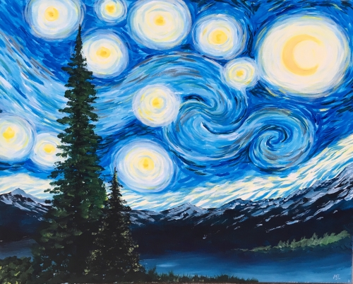 A Starry Mountain Night paint nite project by Yaymaker