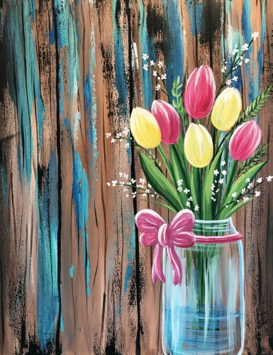 A Rustic Tulips paint nite project by Yaymaker