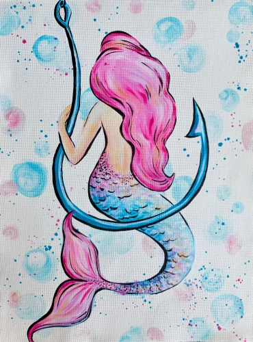 A Pink and Blue Mermaid paint nite project by Yaymaker