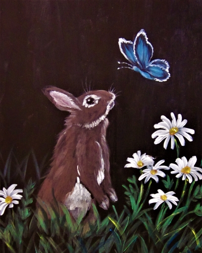 A Bunny Meets Butterfly paint nite project by Yaymaker