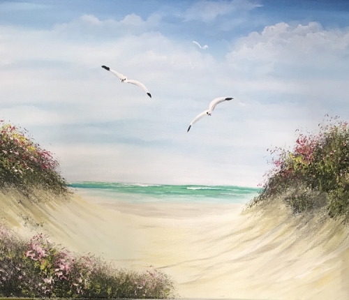 A Flower Beach paint nite project by Yaymaker