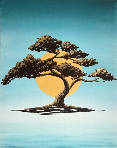 A Golden Bonsai Tranquility paint nite project by Yaymaker