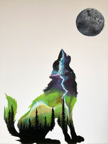 A Spaced Out Wolf paint nite project by Yaymaker