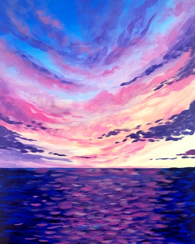 A Cloudy Ocean Sunset paint nite project by Yaymaker