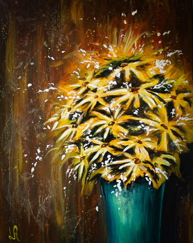 A Green Vase and Daissies paint nite project by Yaymaker