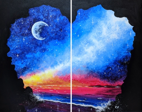 A Galaxy Cove Partner Painting paint nite project by Yaymaker