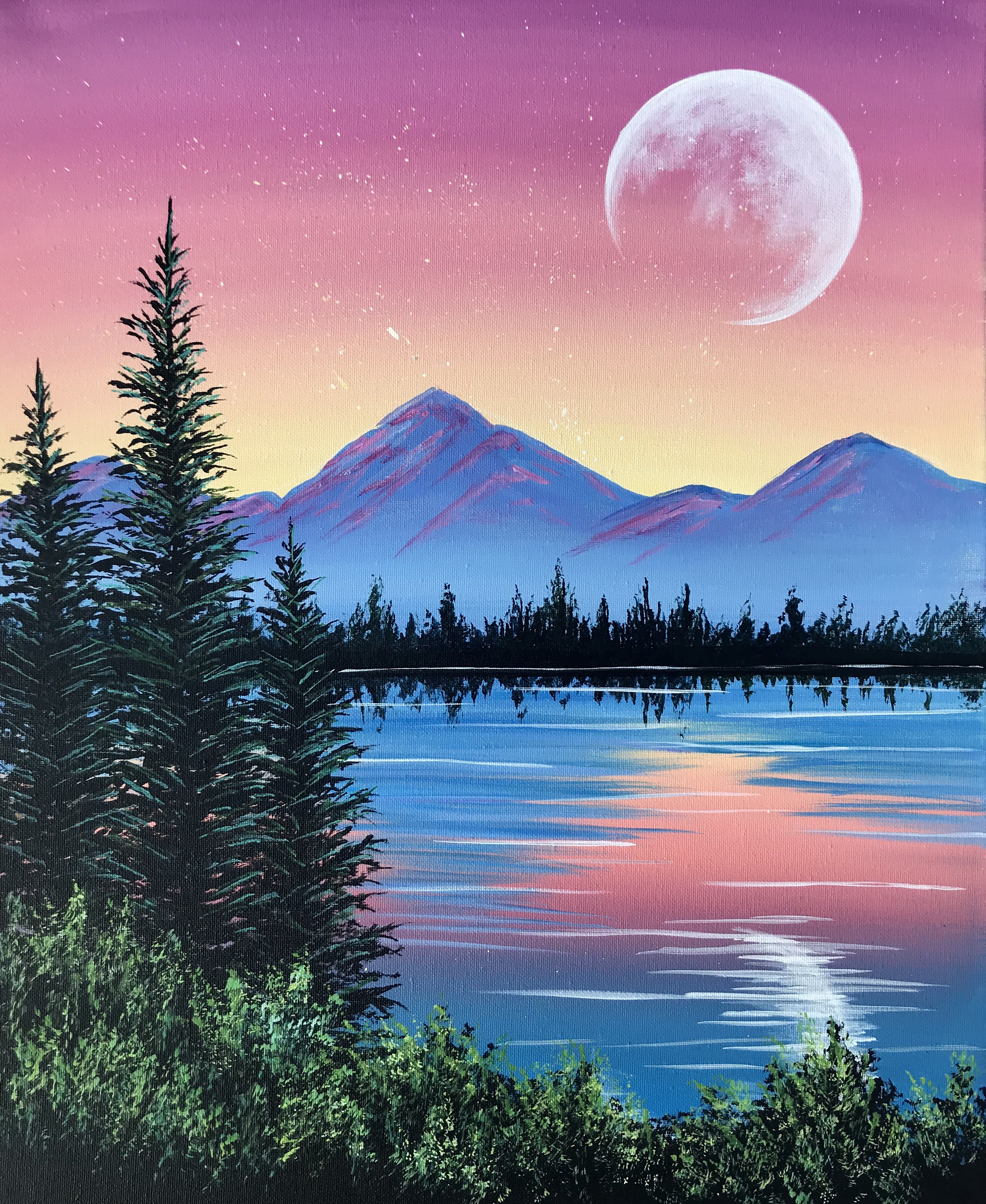 A Peaceful Pine Lake paint nite project by Yaymaker