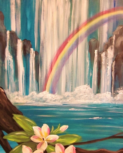A Hidden Rainbow Falls paint nite project by Yaymaker