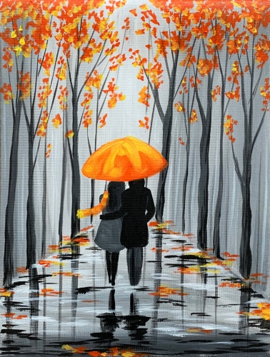A Rainy Autumn Stroll paint nite project by Yaymaker