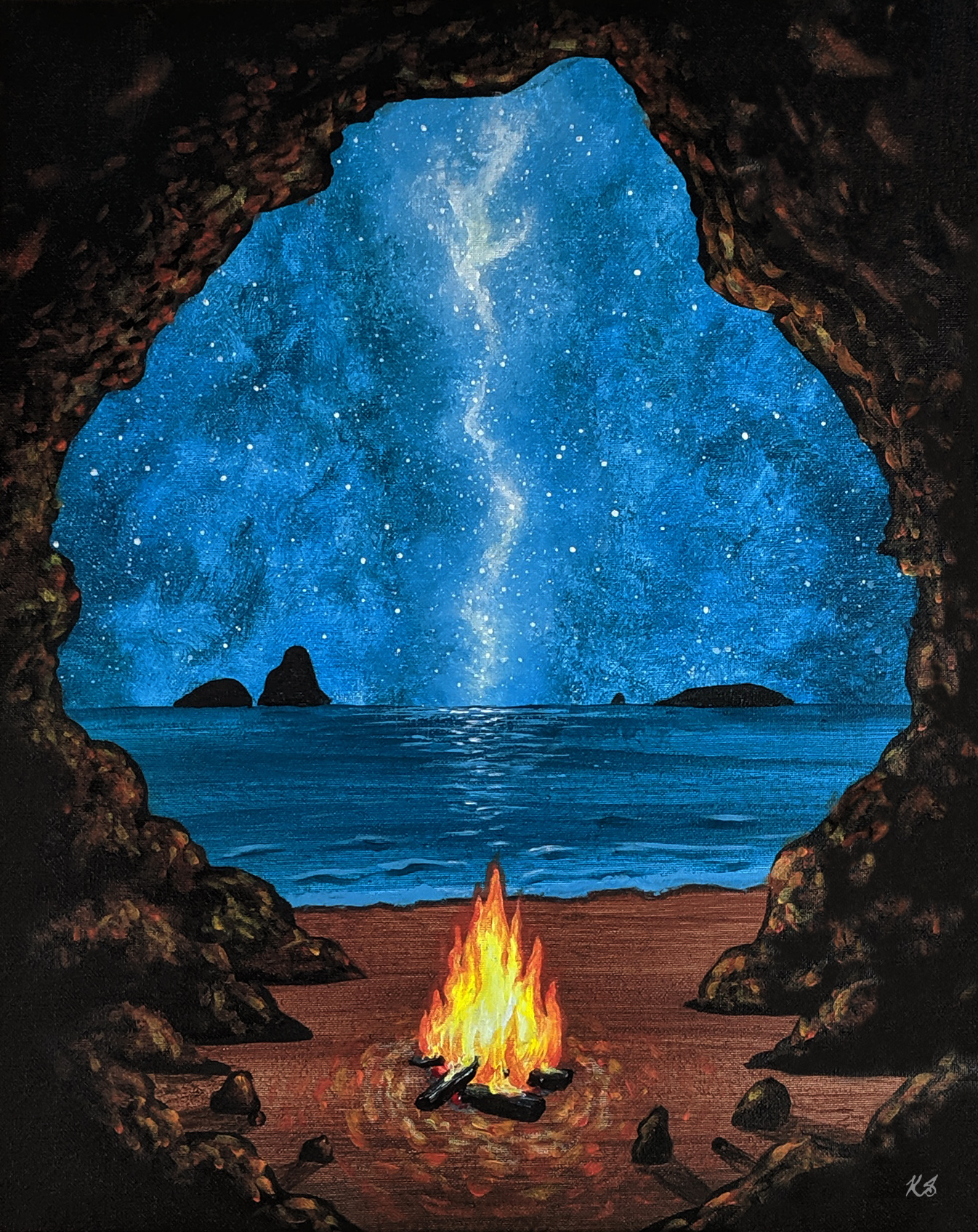 A Beachside Campfire paint nite project by Yaymaker