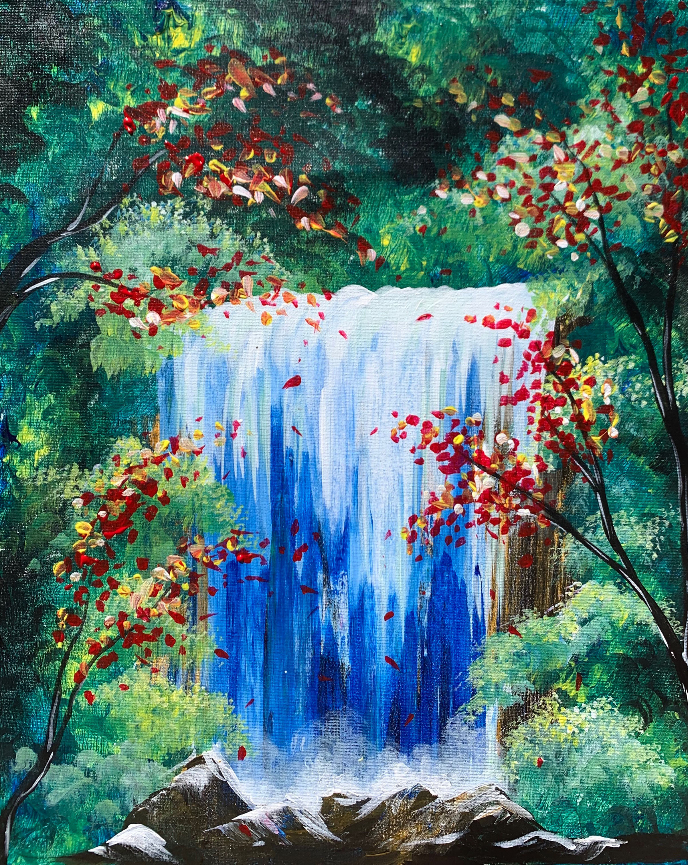 A Fall Forest Waterfall paint nite project by Yaymaker
