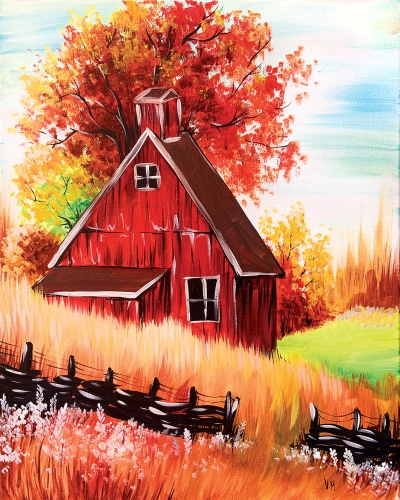 A Red Autumn Barn paint nite project by Yaymaker