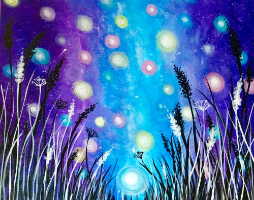 A Colourful Fireflies in the Galaxy paint nite project by Yaymaker