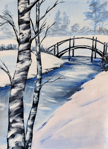 A Winter at Rivers Edge paint nite project by Yaymaker