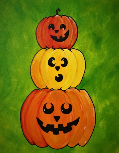 A Pile of Pumpkin Pals paint nite project by Yaymaker