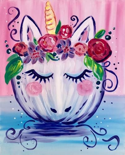 A Pumpkin Unicorn paint nite project by Yaymaker