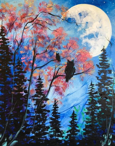 A Moonlight Owls paint nite project by Yaymaker