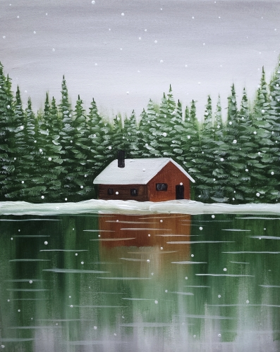 A Snowy Cabin II paint nite project by Yaymaker