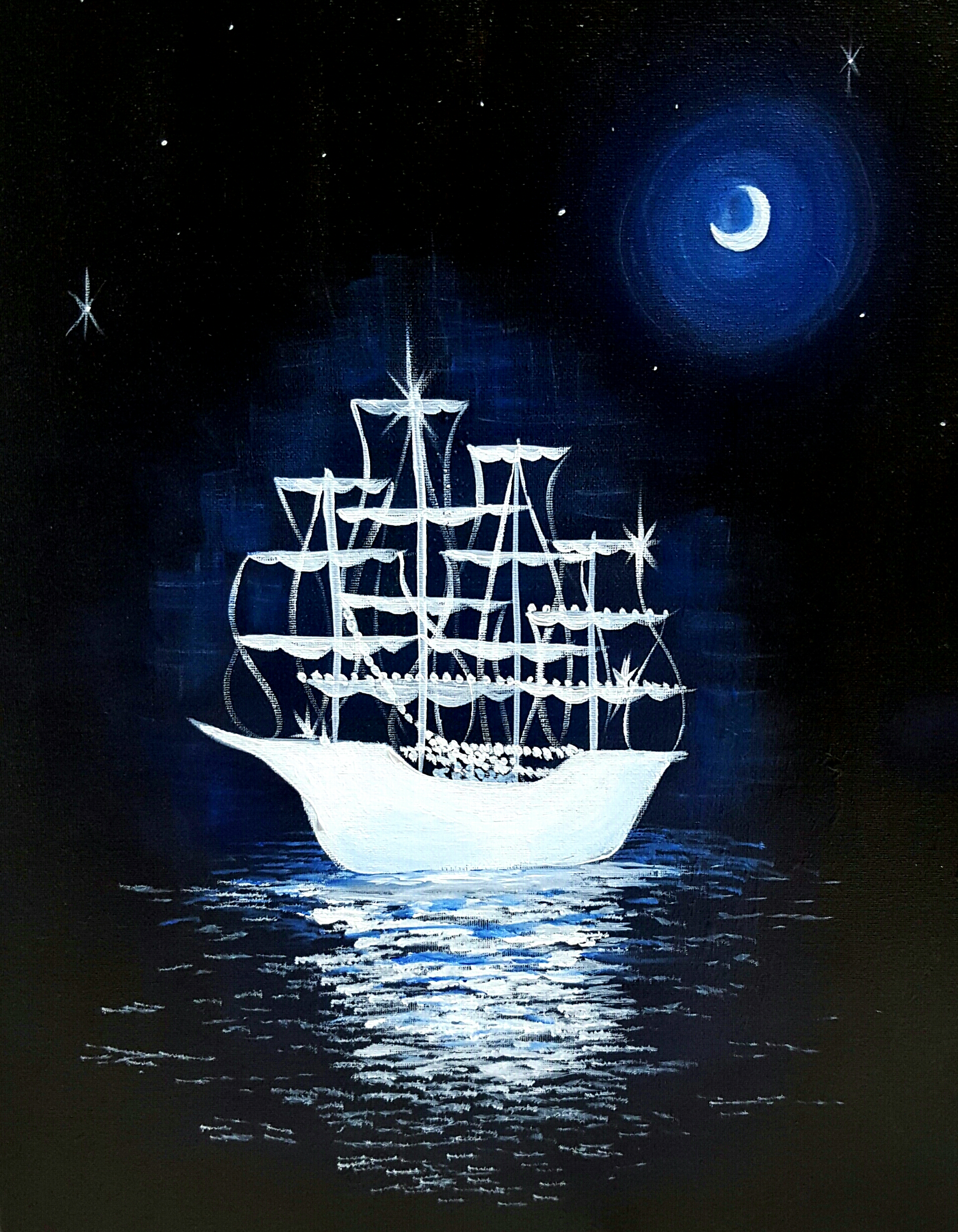 A Midnight Ghost Ship paint nite project by Yaymaker