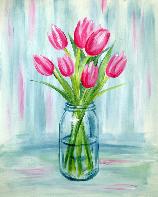 A Pink Tulip Vase paint nite project by Yaymaker