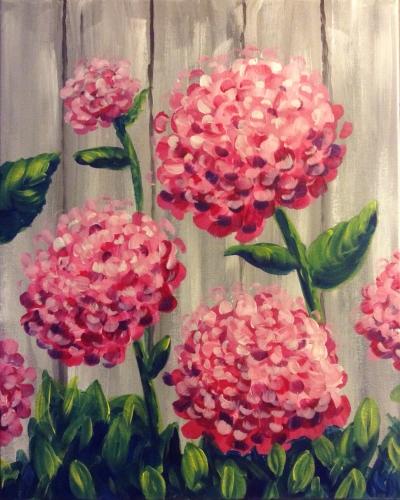 A Hey Hey Hydrangeas paint nite project by Yaymaker
